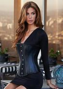 Essential Satin And Leather Corset Blk L