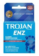Trojan Condom Enz With Spermicidal Lubricant 3 Pack